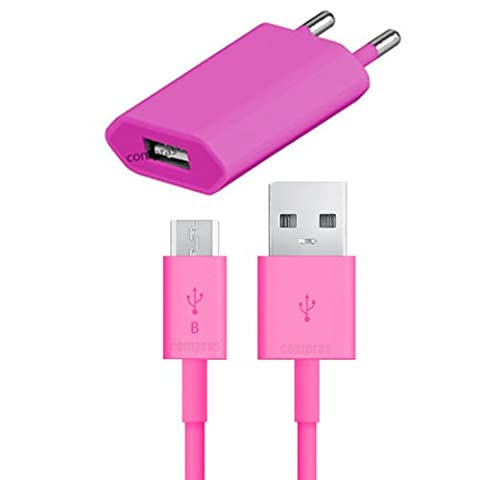 Original q1 2in1 Set Pink USB Ladegerät Datenkabel Ladekabel Netzteil Samsung Galaxy S4 Mini GT-i9195 / S7 / S7 edge / S6 / S6 edge / S6 edge Plus / S3 / S3 Neo / S5 / S5 mini / S4 / S3 Mini / G530H / G531F / S4 mini / A3 2016 / A5 2016 / A3 2015 / A5 2015 Original q1