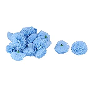 sourcing map Cabezas de Flores Artificiales de Clavel de Tela de Fiesta de Boda DIY Craft Decor Light Blue 20pcs