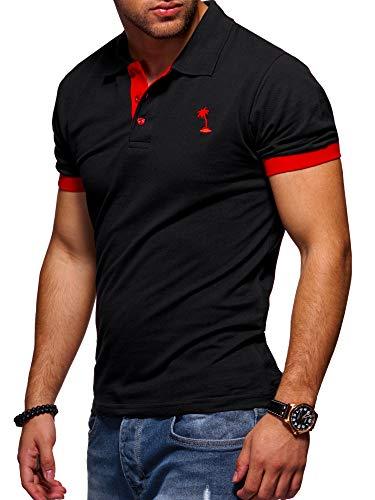 Rot Schwarz Shirt (behype. Herren Kurzarm Basic Kontrast Polo-Shirt 20-0337 Schwarz-Rot L)