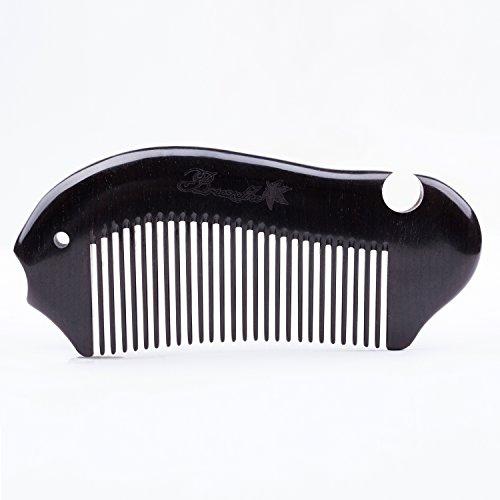 Breezelike No Static Fish Shaped Ebony Wood (Black Sandalwood) Fine Tooth Comb by Breezelike