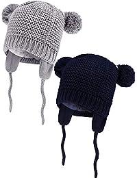2 Pezzi Bambino Berretto Neonato Cappelli a Maglia in Pelliccia Foderato  Animali Forma Berretti con Paraorecchie 6753a6a11670