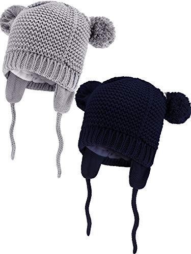 Zhehao 2 Stücke Baby Mütze Kleinkind Warme Strick Mützen Vlies Gefüttert Tiere Form Kappen mit Ohrenklappe für Jungen und Mädchen Winter Vorräte (Marine Blau und Grau, 6-12 Monate Größe) -