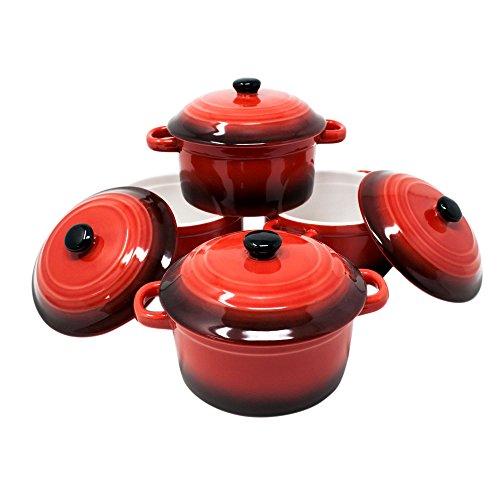ToCi Haushalt Plat à bols avec couvercle   Mini Four formes en céramique-ramequins 10x 4cm 300ml-Orange, rouge et comme Sets Rot 4er-set