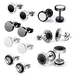 7 pair Edelstahl Stud Ohrstecker Set allergiefrei Ohrringe für Herren Damen Frauen Ohrstecker Knorpel Rund Piercing Ohr 8MM