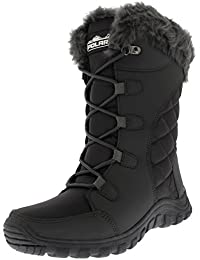 f8b6c340a711 Womens Quilted Lace Up Waterproof Black Outdoor Cuff Snow Rain Duck Boot