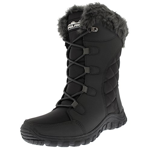 Womens Quilted Lace Up Waterproof Outdoor Cuff Snow Rain Duck Boot - Grey - UK6/EU39 - YC0511 Cuff Rain Boots