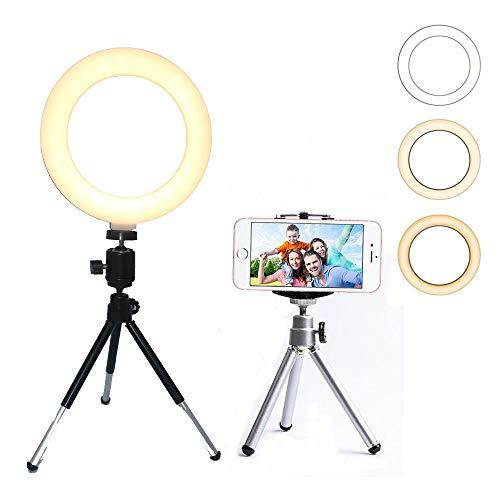 icht, Mini-Schreibtisch-LED-Lampe, dimmbar, für Live Stream/Make-up/YouTube-Video, kompatibel mit iPhone XS, Max XR, Android, 6.2 inch with Tripod Stand ()