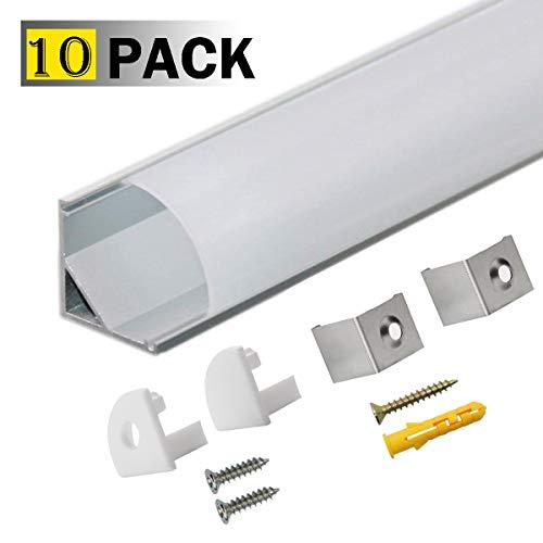 LED Aluminium Profil V 45° 10x1m, LED-Kanäle und Diffusoren mit Endkappen und Befestigungsclipsen für flexible LED-Lichtleisten von StarlandLed