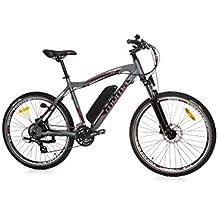 """Moma Bikes Bicicleta Electrica Montaña MTB 26"""" Full aluminio, SHIMANO 24 vel. Frenos de disco de freno, Bateria Ion-Litio 36V 16Ah"""