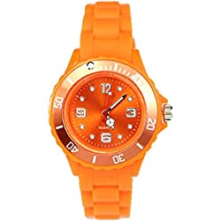 AccessoriesBySej 24 Colours - SMALL ORANGE 33mm CHILDREN'S KIDS GIRLS BOYS LADIES WOMENS SMALL 33mm QUARTZ SILICON /RUBBER STYLE JELLY SPORT WRIST WATCHES UNISEX DATE