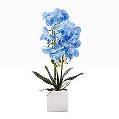 Idea Regalo - Encoft Fiori Artificiali in Seta con Vaso 50cm (Blu)