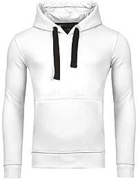 Young & Rich Hoodie Herren Basic Sweater Sweatshirt Uni Hoody Kapuzenpullover Pullover mit Kapuze in der Farbe Weiss L