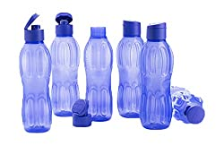Signoraware Fliptop Aqua Plastic Bottle Set, Set of 6, 1 Litre, Violet