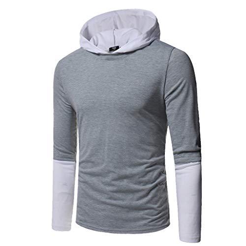 SSUDADY Herren Kapuzenpullover Sweatshirt Langarmshirt mit Kapuze Sweater Pullover T-Shirt Langarm Sweatshirt Einfarbig Oberteil Casual Tops Slim Fit Bluse M-2XL - Einfach Zip Polo
