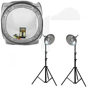 """Ex-Pro Photo light tent, cube with Professional Day light TRUE WHITE Lighting Kit Lamps, 59"""" x 59"""" / 150cm x 150cm for white back photography, includes 4 Colour Backgrounds Red, White, Black & Blue. Ideal for catalouge product photography or selling catalouge products online. Photo light tents, Photo light cubes, Photographic tents."""