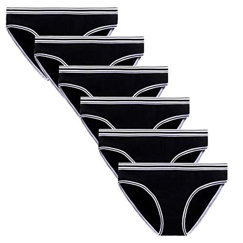 Anntry Komfort-Baumwoll Unterwäsche für Damen 6er-Pack Frauen Stretch-Bikini Unterhosen Atmungsaktives Hipster-Slip-Höschen (L(Taille:30-32 inch), 6Schwarz) - Baumwolle-sport-stretch-höschen