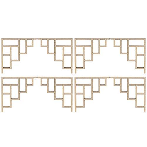 Amosfun 8 Stücke Holz Geschnitzte Ecke Onlay Unlackiert Blume Applique Unfinished Holz Ausschnitte für DIY Crafting Ornament Architekturmodell