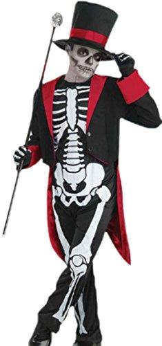 erdbeerloft - Jungen Mister Skelett Kostüm, Halloween, 134, Schwarz-Weiß-Rot (Vampir Kostüm Für Jungs)