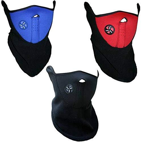Kimmyer 3 Stücke Winter Kaltbeweis Maske Winddicht Ski Gesichtsmaske Halbe Gesicht Mundwärmer für Ski Fahrrad Radfahren Motorrad (drei farben)