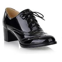AllhqFashion Mujer Cordón Charol Tacón Medio Puntera Redonda ZapatosdeTacón