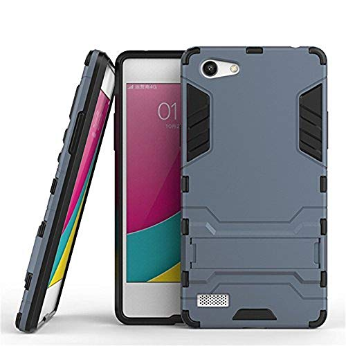 Zocardo Military Grade Dual Protection Layer Hybrid TPU + PC Kickstand Back Case Cover for Oppo Neo 7 - Grey