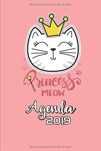 Princess Meow Agenda 2019: Agenda  Mensual y Semanal + Organizador I Cubierta con tema de Gatos Enero 2019 a Diciembre 2019 6 x 9in