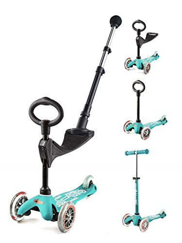 Micro Mobility - Trottinette 3 en 1 Push Deluxe - Trottinette trois roues évolutive avec barre de poussée - Apprentissage mobilité et équilibre - À partir de 1 an
