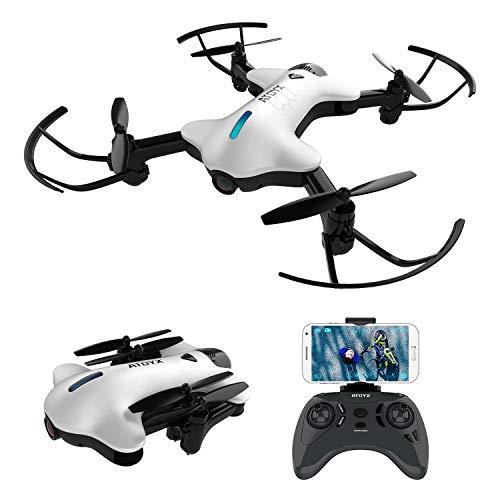 ATOYX AT-146 Drone con Cámara, 720 HD Mini Drone Plegable con App WiFi FPV , Altitud Hold, Modo sin Cabeza, Una Tecla de Despegue y Aterrizaje de Gravedad RTF, Mejor Regalo, Blanco