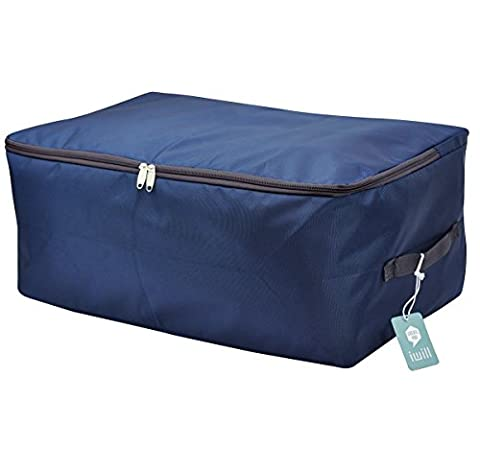 High Density Oxford Fabric Under Bed Storage Bag, Closet Organizer Soft Bag, Space Saver Bag for Clothing, Duvets, Bedding, Pillows, Curtains (Midnight blue, L) (Zipper colour may