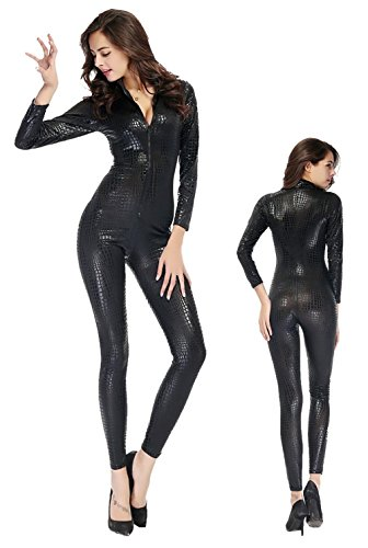 HAIYUANNAN Frauen Shiny Catsuit Snakeskin Muster Unitard Kunstleder -Overall-Cosplay-Dame-Mädchen-Abendkleid Overall Sexy Party Clubwear, XL