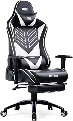 Umi. by Amazon - Gaming Stuhl Bürostuhl mit Fußstütze Schreibtischstuhl PU Leder Gamer Stuhl Drehstuhl Ergonomischer Drehstuhl PC Stuhl Chefsessel Computer Stuhl