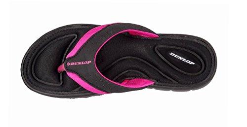 Dunlop - Retro aperto donna (Black - Fuchsia)