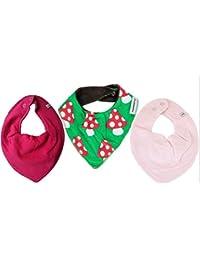 Maxomorra / Pippi * 3er Mädchen Kombi-Set Baby Halstücher Dreieckstücher 3 Stück * pink rosa grün mit FLIEGENPILZ Organic Cotton
