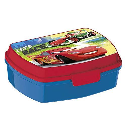 Porta Snacks Auto leichtes Mittagessen Brotdose zum Mittag- oder Frühstück aus rotem und blauem Lebensmittelkunststoff für Kinder mit Autolizenz Disney-Lizenz.