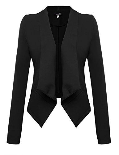 Acevog Damen Herbst Winter Langarm Blazer Wasserfall Basic Klassicher elegant asymetrischer Kurzjacke Mantel Business Anzug