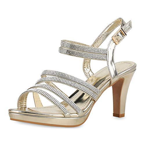 Gold Heels (SCARPE VITA Damen Pumps Riemchensandaletten Strass Sandaletten Metallic Party Schuhe Elegante High Heels Plateau 175212 Gold Strass 40)