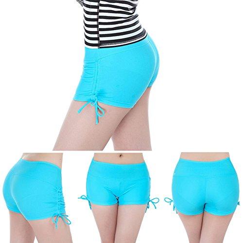 iBaste Femmes Shorts de Bain Classique avec Cordons de serrage Blue Lake