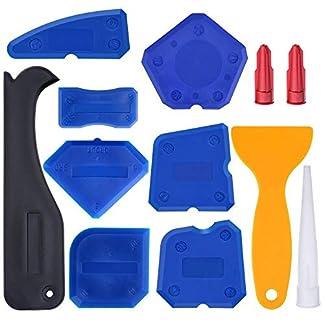 FOONEE Kit de Herramientas de calafateo, rascador de Silicona para Juntas de Azulejos, Herramienta de Acabado selladora para Suelos de baño, Cocina, Juego de 9 Unidades