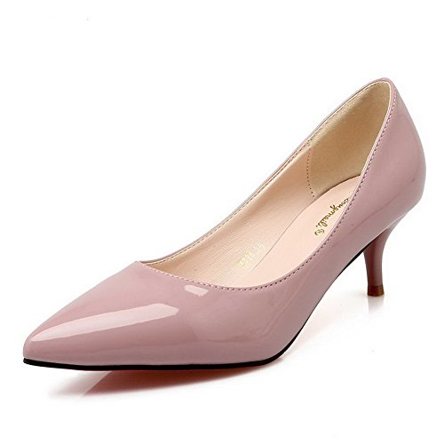 AalarDom Damen Pu Leder Mittler Absatz Spitz Zehe Pumps Schuhe Nackte Farbe