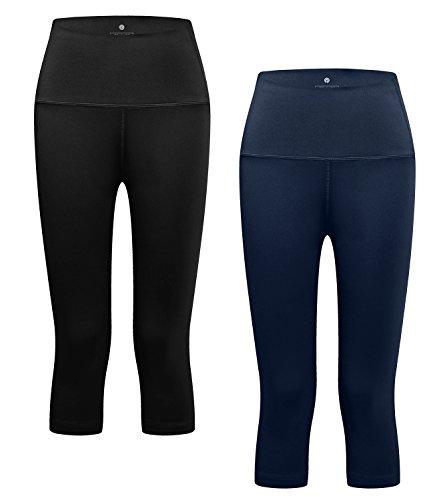 Lapasa Damen 3/4 Sport Leggings – blickdicht, dehnbar luftig, 3/4 Yoga Sporthose, Damen kurz Training Tights L002 (Schwarz + Navy Blau, XL/X-Large (Taille 85 – 89 cm)) (Stretch-bund)