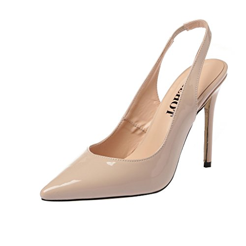 ELEHOT Donna Elequeen tacco a spillo 10CM Synthetic Sandali, beige,