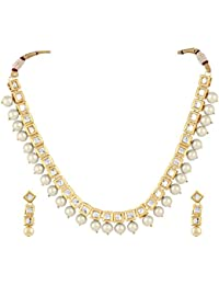 Shining Diva Fashion Jewelry Fancy Wedding Party Wear White Kundan Traditional Jewellery Set / Necklace Set With...