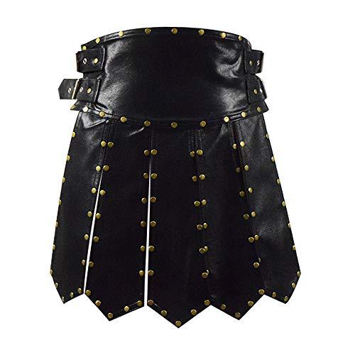 Zhangjianwangluokeji Schwere römische Gladiator Lederrock Kostüm schwarz Schürze Gürtel Messing Armaturen Cosplay Rüstung für Männer (3XL, Schwarz) (Rüstung Männer Kostüm)