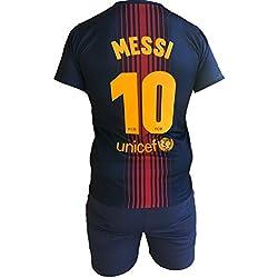 Conjunto Equipacion Camiseta Pantalones Futbol Barcelona Lionel Messi 10 Replica Autorizado 2017-2018 Niños Adultos (Talla 8 Años)
