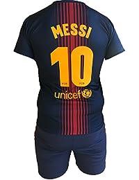 Conjunto Equipacion Camiseta Pantalones Futbol Barcelona Lionel Messi 10 Replica Autorizado 2017-2018 Niños Adultos