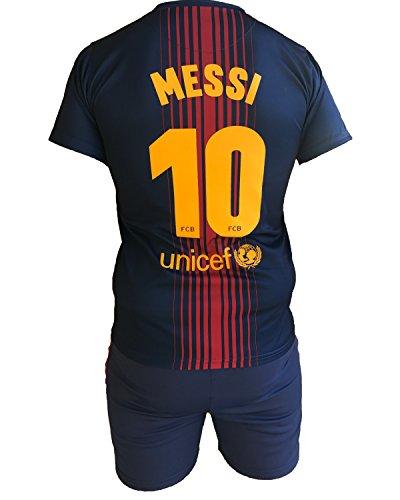 Complete Trikot und Hose Fußball Barcelona Lionel Messi 10 Replik Official 2017-2018 Kinder Junge Herren (Größe 8 Jahre)