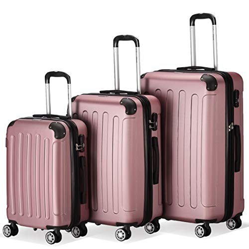Flexot 2045 3er Reisekoffer Set - Farbe Rosa (Pink) Größe M L XL Hartschalen-Koffer Trolley Rollkoffer Reisekoffer 4 Rollen