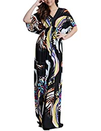 Wantdo Femme Bohemien Col En V Robe De Plage Taille Haute Plus Size