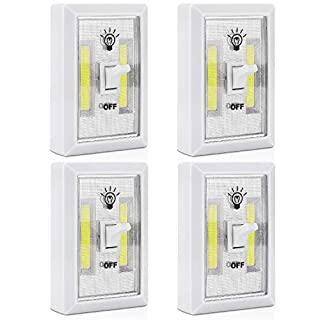 [4 Pack] COB LED Wireless Night Light Switch, PEMOTech Cordless Switch Lamp Battery Powered Perfect for Baby Nursery Hallways Bedrooms Closets Kitchen Garage Night Reading Shelf RV Boat and More