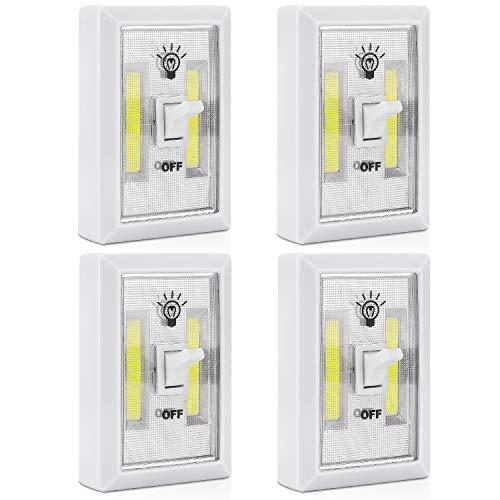PEMOTech - Luz nocturna inalámbrica LED con interruptor, funciona con pilas, ideal para guarderías, pasillos, dormitorios, armarios, cocina, garaje, lectura nocturna y más (2 unidades)